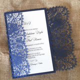 Bohemian Lace Laser Cut Invitation in Midnight Shimmer
