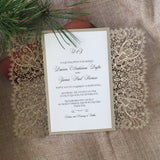 Bohemian Lace Laser Cut Invitation in Gold Shimmer