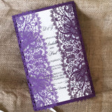 Bohemian Lace Laser Cut Invitation in Purple Shimmer