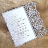 Bohemian Lace Laser Cut Invitation in Silver Shimmer