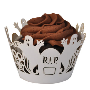Laser Cut Cupcake Wrappers - Unique Cupcake Wraps Perfect for a Halloween Party; The Style is Ghosts