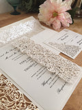 Laser Cut Wedding Invitations in Spring Vines Collection White Matte