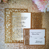 Italian Ornate Laser Cut Wedding Invitations in Antique Gold Shimmer - A9 Gatefold, A7 Gatefold, A2 Response Card