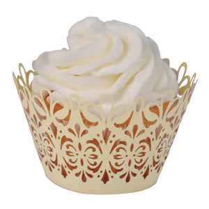 Laser Cut Cupcake Wrappers - Unique Cupcake Wraps Perfect for a Wedding or Party; The Style is Lavish