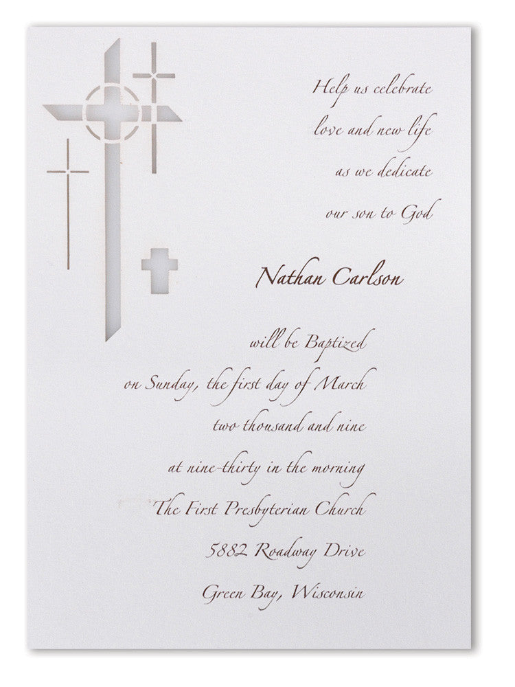 Laser cut invite modern cross a7 blank paper orchid unique laser cut invitations for a baptism christening first communion christening confirmation stopboris Choice Image