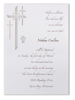 Unique Laser Cut Invitations for a Baptism, Christening, First Communion, Christening, Confirmation or other Religious Celebration; Also perfect for Baby Boy or Girl Shower Invitations; The Style is Modern Cross