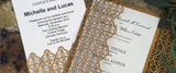 Moorish Leaves Laser Cut Wedding Invitation in Antique Gold Shimmer