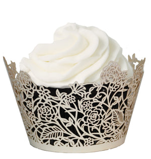 Rose Vine Cupcake Wrapper - (Standard & Mini Sizes)