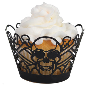 Laser Cut Cupcake Wrappers - Unique Cupcake Wraps Perfect for a Halloween Party; The Style is Skull