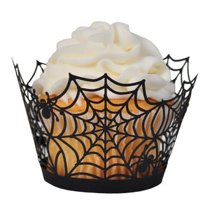 Laser Cut Cupcake Wrappers - Unique Cupcake Wraps Perfect for a Halloween Party; The Style is Spider Web