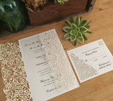 Spring Vines Laser Cut Invitation and Response Card in White Matte