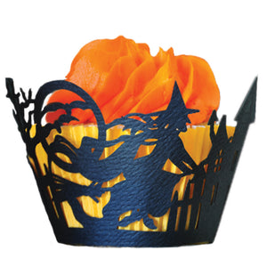 Laser Cut Cupcake Wrappers - Unique Cupcake Wraps Perfect for a Halloween Party; The Style is Witch
