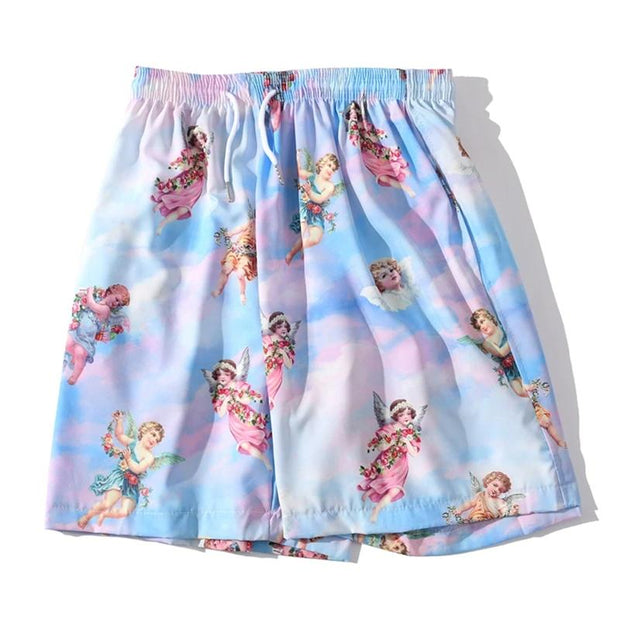 Angel Printed Summer Beach Shorts