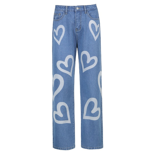 Denim Vintage Heart Printed Baggy Jeans