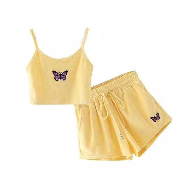 Butterfly 2 Piece Crop Top Summer Set