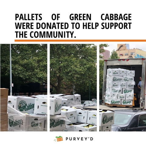 Pallets of green cabbage were donated to help support the community.