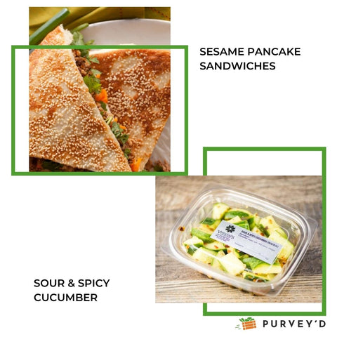 SESAME PANCAKE SANDWICHES AND SOUR & SPICY CUCUMBER