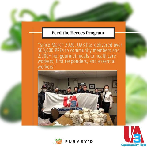 """Feed the Heroes Program: """"Since March 2020, UA3 has delivered over 500,000 PPEs to community members and 2,000+ hot gourmet meals to healthcare workers, first responders, and essential workers."""""""