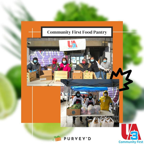 Community First Food Pantry: giving out corn and broccoli