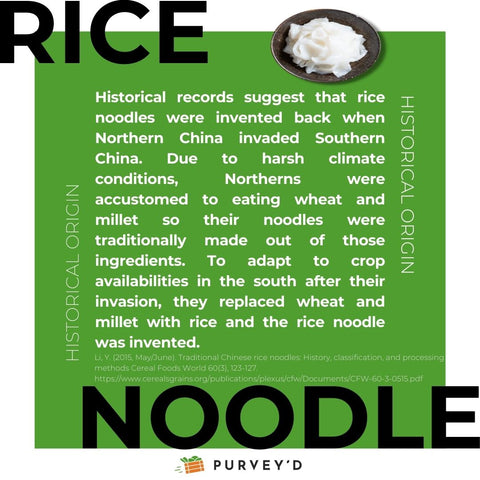 Historical records suggest that rice noodles were invented back when Northern China invaded Southern China. Due to harsh climate conditions, Northerns were accustomed to eating wheat and millet so their noodles were traditionally made out of those ingredients. To adapt to crop availabilities in the south after their invasion, they replaced wheat and millet with rice and the rice noodle was invented.