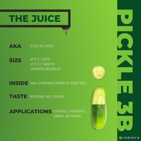 """PICKLE 3B. AKA: SLICER, 3B's, PICKLES. SIZE:UP TO 5"""" LENGTH UP TO 2.5"""" DIAMETER CONSIDERED MEDIUM SIZE. INSIDE: SMALL TO MODERATE AMOUNT OF TENDER SEEDS. TASTE: REFRESHING, MILD, CRUNCHY. APPLICATIONS:SUSHI ROLLS, SANDWICHES,  GARNISH, AND PICKLING."""