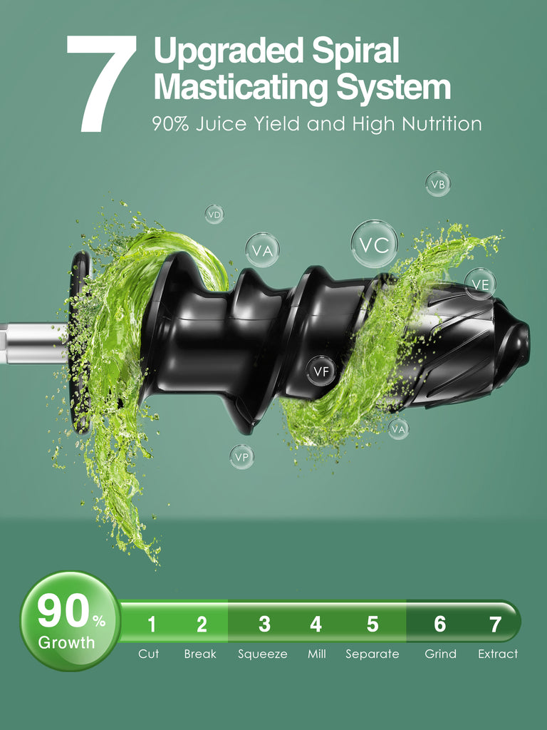 AICOK Professional Juicer, Slow Masticating Juicer Extractor, Upgraded 7 Segment Spiral, Quiet Motor & Reverse Function, BPA-Free