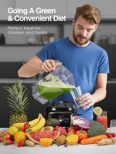 AICOOK 819B Professional Countertop Blender, 1800W Smoothie Maker Blender for Kitchen, 11-Speed Control Food Processor Blender for Shakes, BPA-Free Pitcher