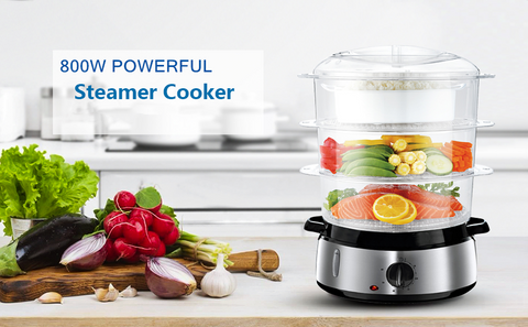 Food Steamer for Cooking, 800W Fast Heating Electric Steamer