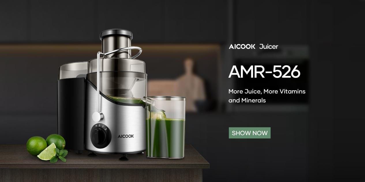 AICOOK | Centrifugal Juicer, Juice Extractor, Juicer Machine with 3'' Wide Mouth, 3 Speed Juicer for Fruits and Vegs, with Non-Slip Feet, BPA-Free