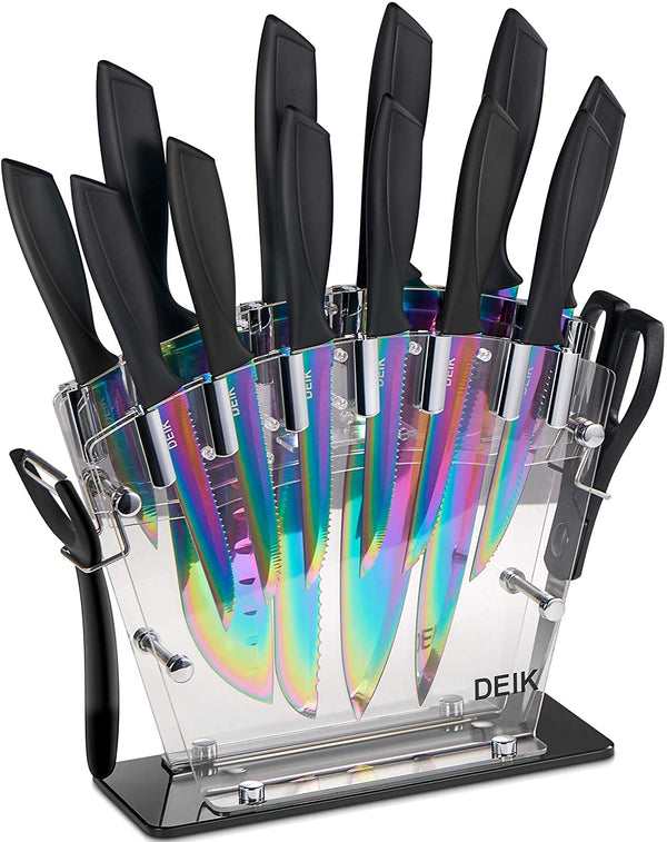 DEIK J1-AB112 16 PCS Titanium Knife Set, High Carbon Stainless Steel Kitchen Knife Set, Anti-rusting, Super Sharp Cutlery Knife Set with Acrylic Stand and Serrated Steak Knives is $50 (16% off)