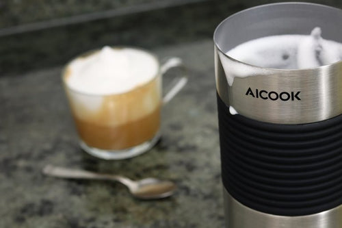 AICOOK 240ml Automatic Electric Milk Frother, 550W, 4 in 1 Multifunctional Cappuccino Frother, Usable for Latte, Cappuccino, Moka Macchiato