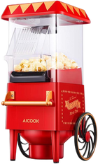 AICOOK Vintage Style Hot Air Popcorn Maker, 1200W, Home Popcorn Popper with Measuring Cup, BPA-Free, Red