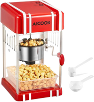 AICOOK 3oz Popcorn Machine with Retro Light, Non-stick Kettle, Pourable Handle, Measuring Cup & Corn kernels & Popcorn Tray Included