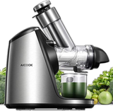AICOOK Slow Masticating Juicer Machines, 3in Large Feed Chute, Stainless Steel, 200W, Ceramic Auger Makes High Nutritive Fruit&Vegetable Juice, Recipes Included