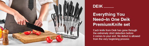 DEIK Knife Set High Carbon Stainless Steel Kitchen Knife Set 16 PCS, BO Oxidation for Anti-rusting and Sharp, Super Sharp Cutlery Knife Set with Acrylic Stand and Serrated Steak Knives