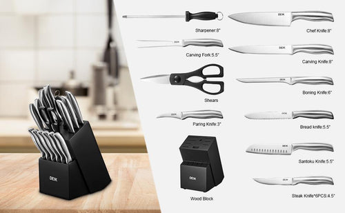 DEIK Stainless Steel Knife Set, Manual Sharpening Chef Knives, 16Pcs Knife Tools with Wood Block