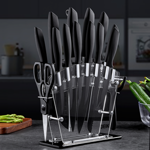 VideoDEIK Knife Set High Carbon Stainless Steel Kitchen Knife Set 16 PCS, BO Oxidation for Anti-rusting and Sharp, Super Sharp Cutlery Knife Set with Acrylic Stand and Serrated Steak Knives