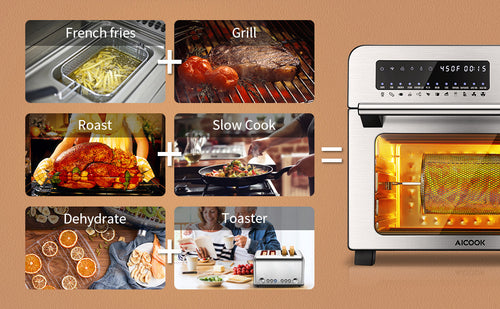 aicok, aicook air fryer oven, large capacity, dishwasher safe