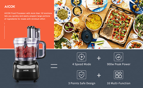 AICOK Food Processor Multifunctional, 4 Speed Controls Compact Electric Food Chopper, Food Shredder with Blade & Grater, 3 Safety Interlocking Design