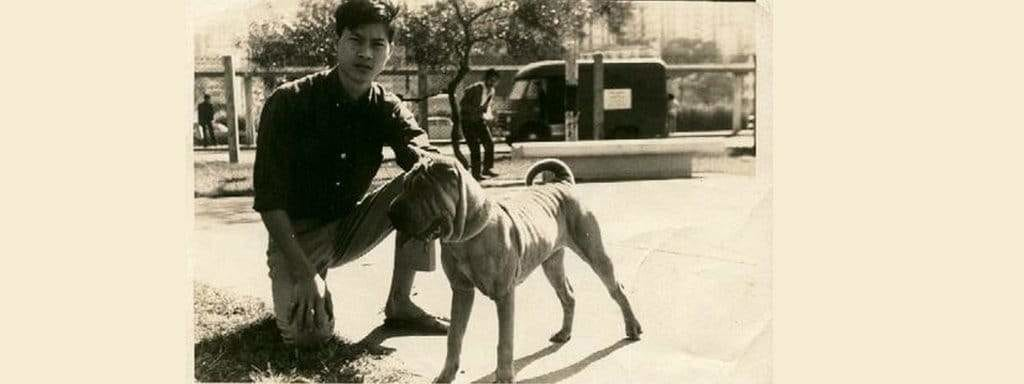 old photo with dog