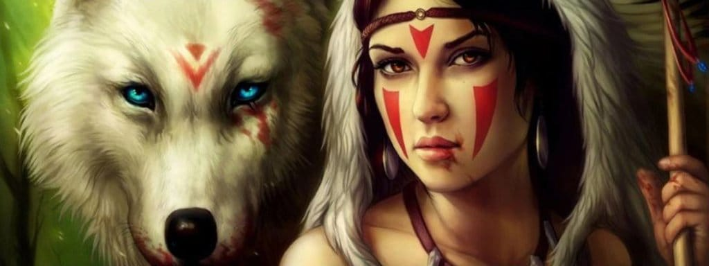 amerindian and wolf