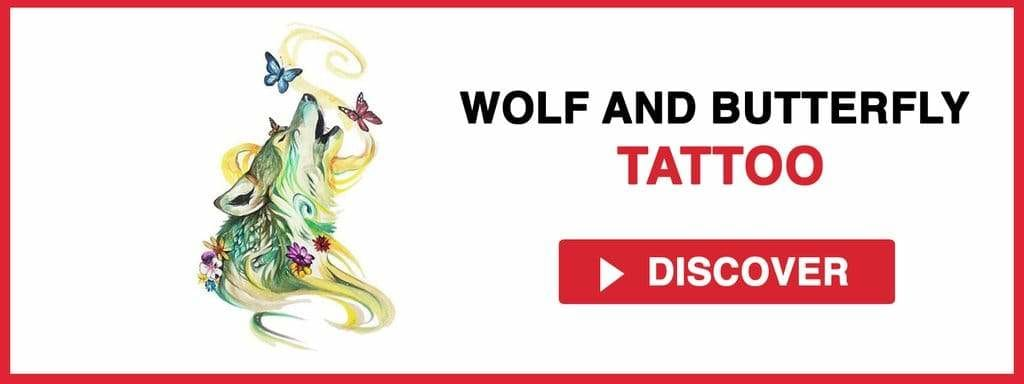 WOLF AND BUTTERFLY TATTOO