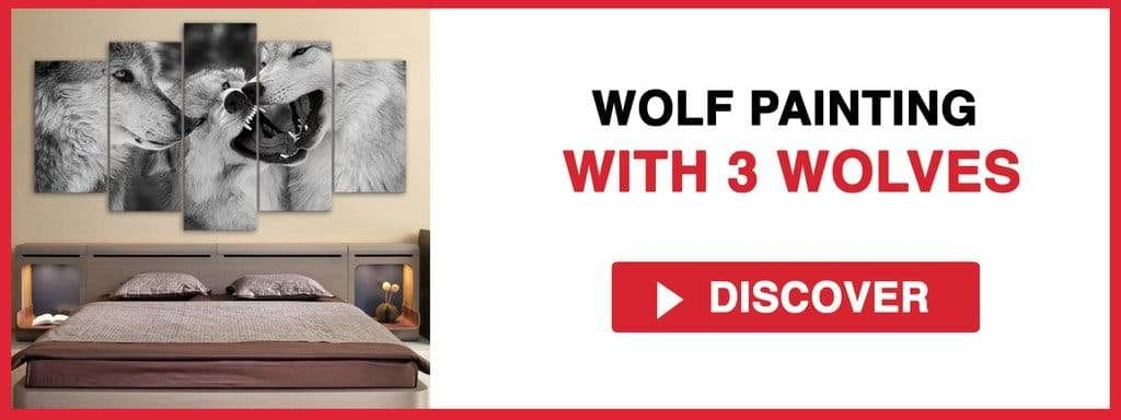 WOLF PAINTING WITH 3 WOLVES