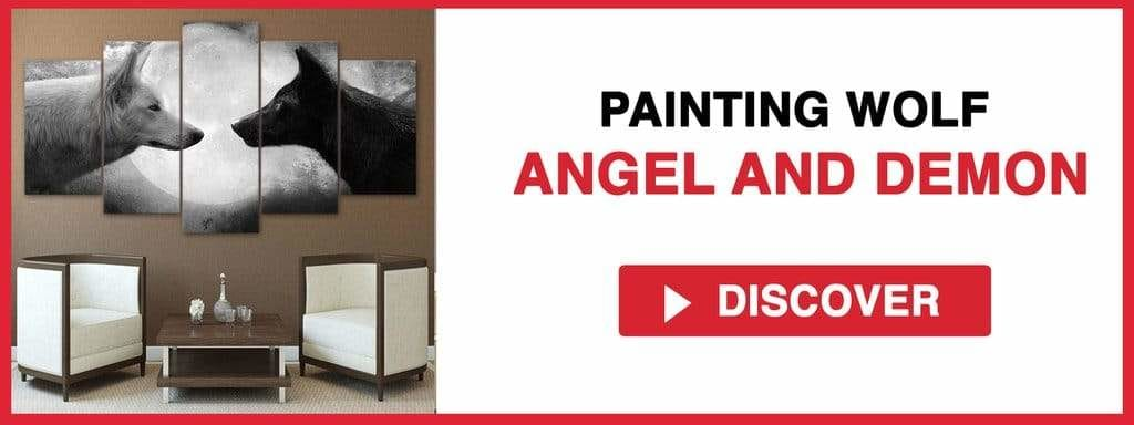 PAINTING WOLF ANGEL AND DEMON