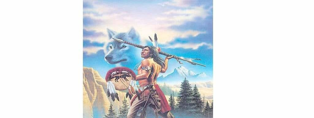 wolf with native american