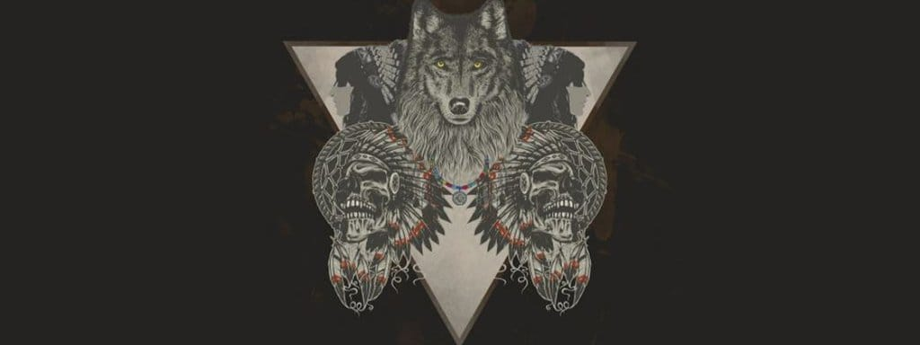 wolf with 2 native american