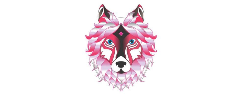 pink wolf head origami
