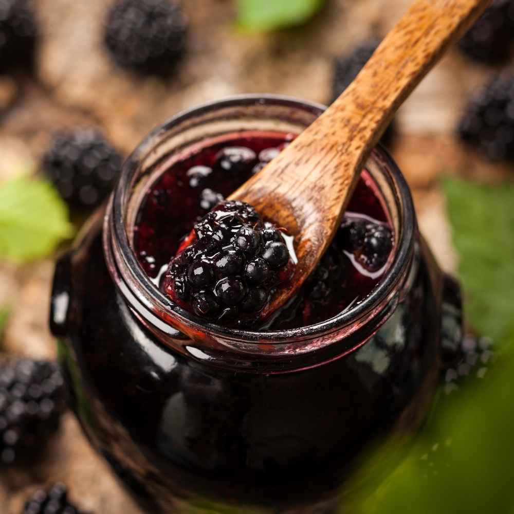 Spoon Inside Blackberry Jam