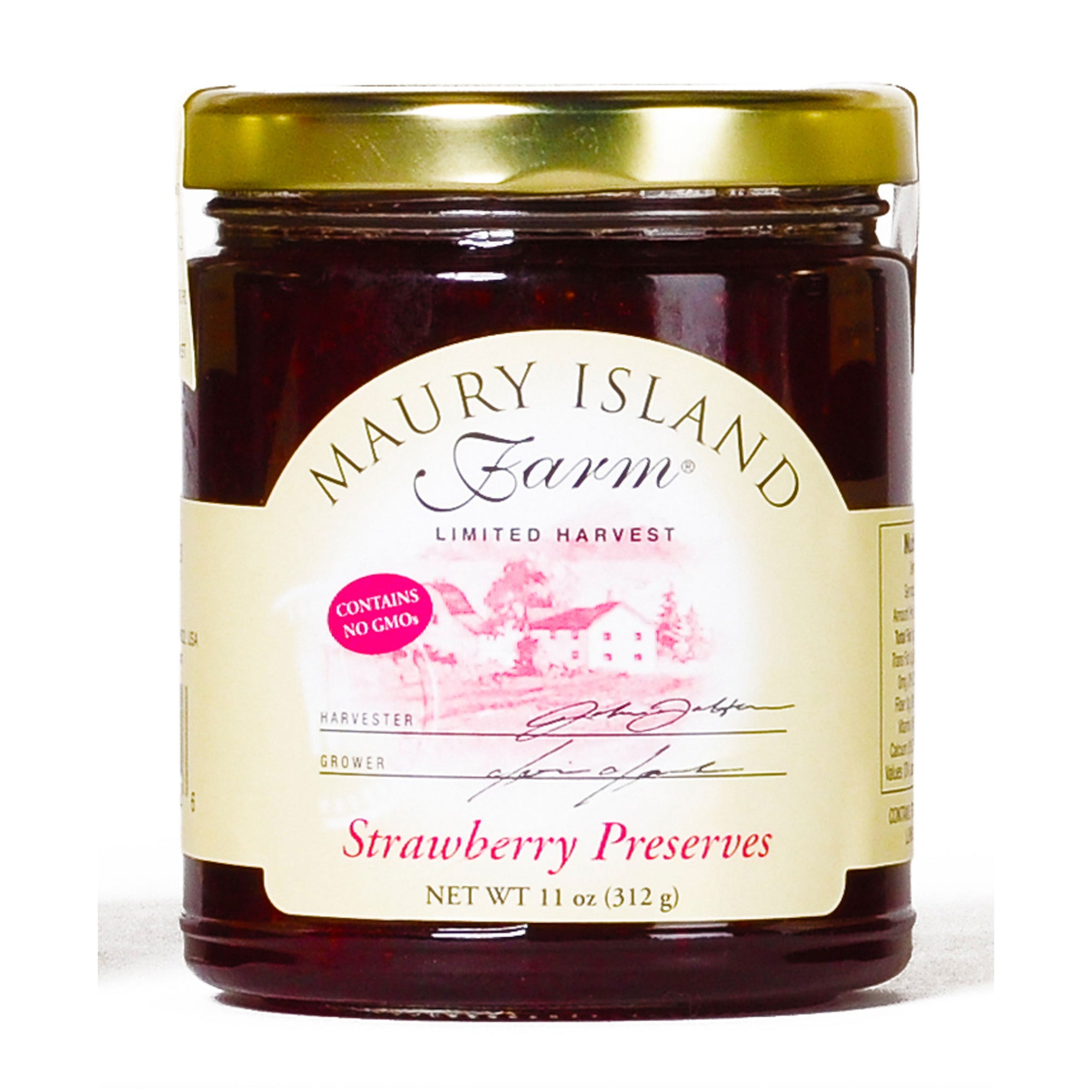Maury Island Farm Limited Harvest Strawberry Preserves 11-Ounce Glass Jar Contains No GMOs