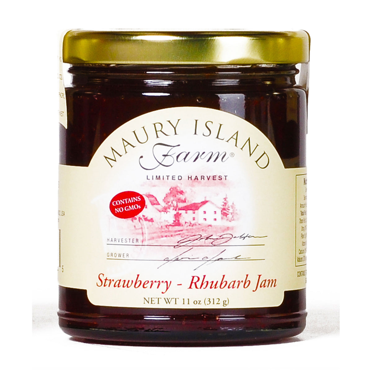 Maury Island Farm Limited harvest Strawberry-Rhubarb Jam 11-Ounce Glass Jars Contains No GMOs